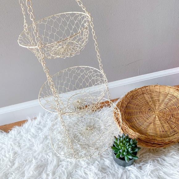 Vintage Farmhouse Wire Three Tier Hanging Basket
